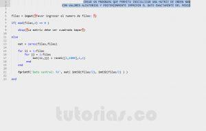 programacion en matlab: imprimir dato central de una matriz