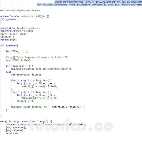 programacion en objective c: imprimir dato central de una matriz