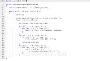 programacion en java: datos diagonales secundarias impares