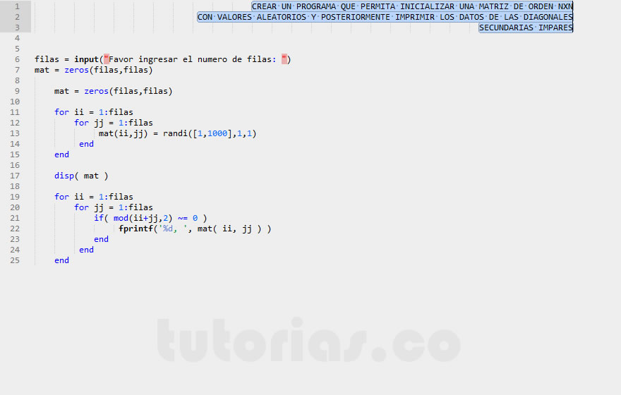 arrays – matLab  (datos diagonales secundarias impares)