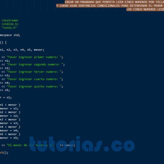 programacion en C++: el menor de cinco numeros