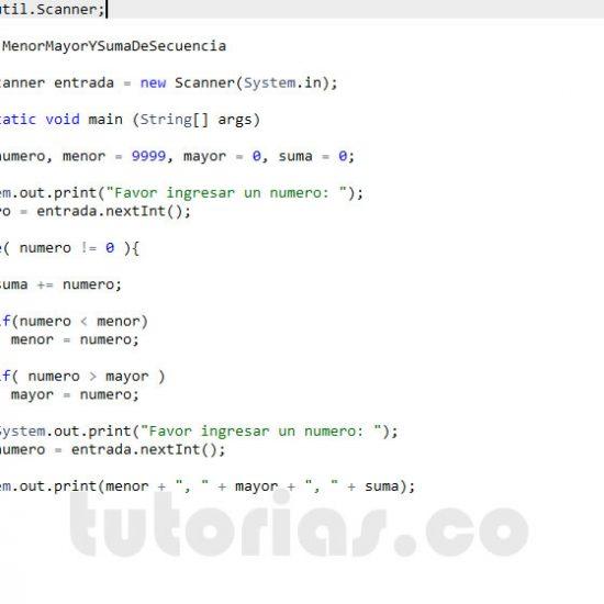 programacion en java: el menor, mayor y la suma de secuencia de numeros