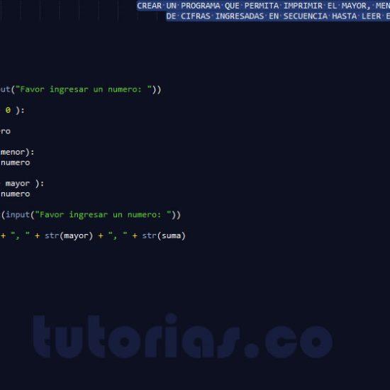 programacion en python: el menor, mayor y la suma de secuencia de numeros