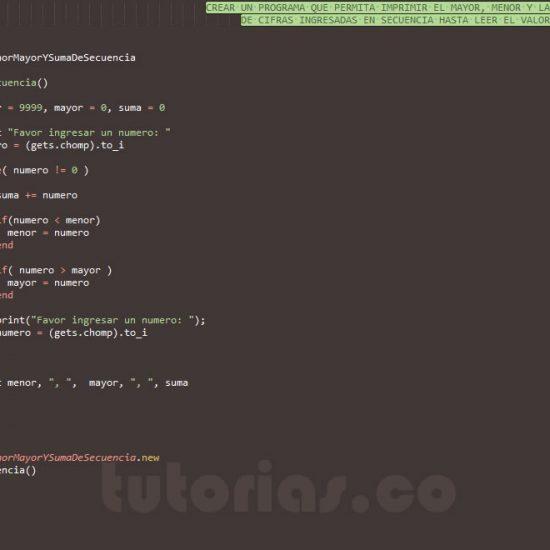 programacion en ruby: el menor, mayor y la suma de secuencia de numeros