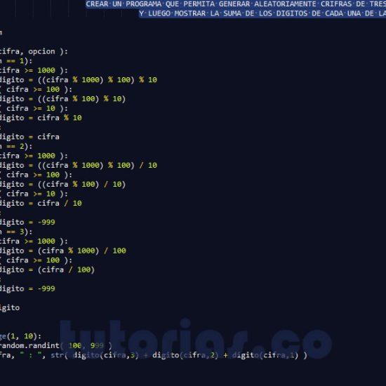 programacion en python: suma de primeros tres digitos