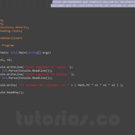 programacion en c#: volumen de un ciclindro