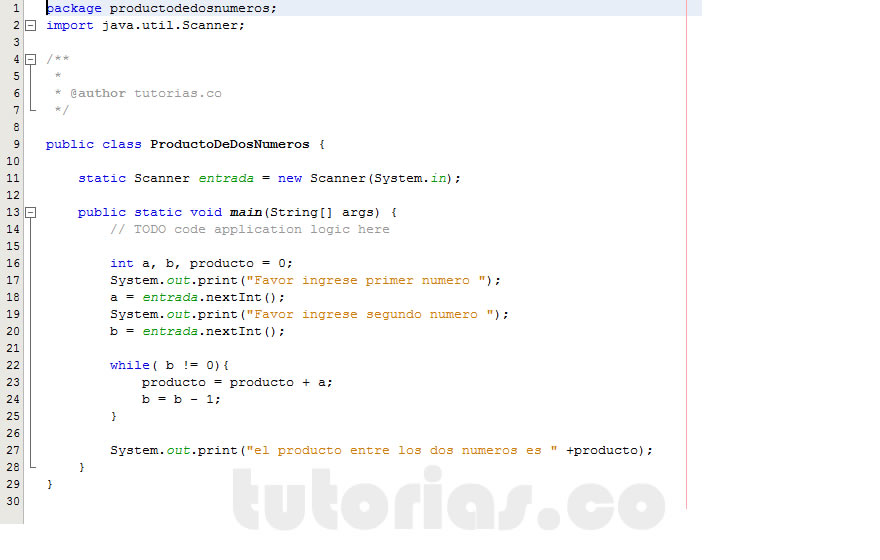 Ciclo While Java Producto Entre Dos Numeros Tutorias Co