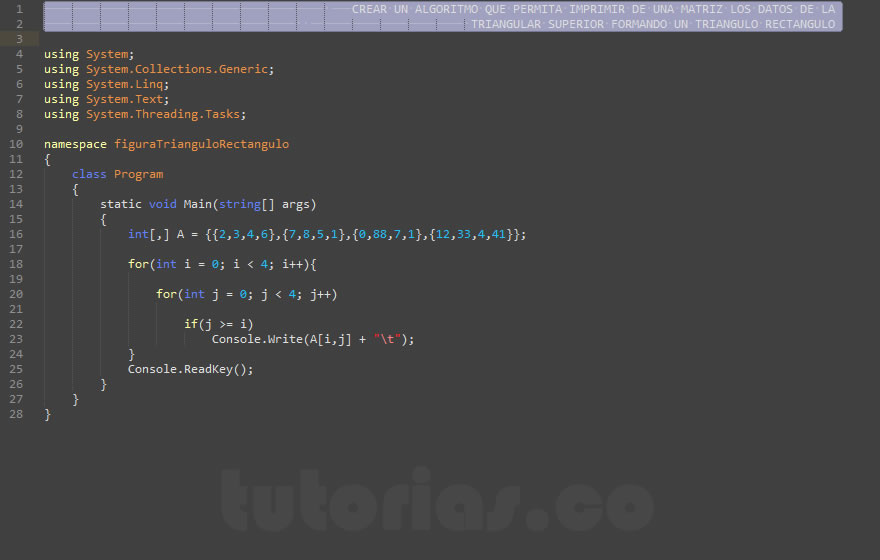 arrays  visualStudio cfigura triangulo rectanguloTutoriasco