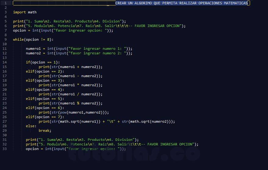 Sentencia Case Python Operaciones Matematicas Tutorias