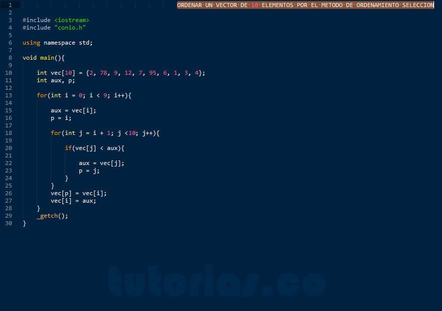 Ciclo For Visual C Metodo De Ordenamiento Seleccion