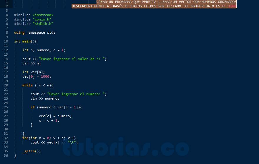 Arrays Visual C Llenar Vector Datos Descendentemente