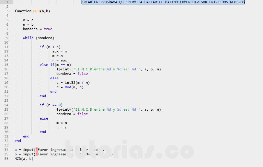 Funciones matlab maximo comun divisor for Pared de 15 ladrillo comun