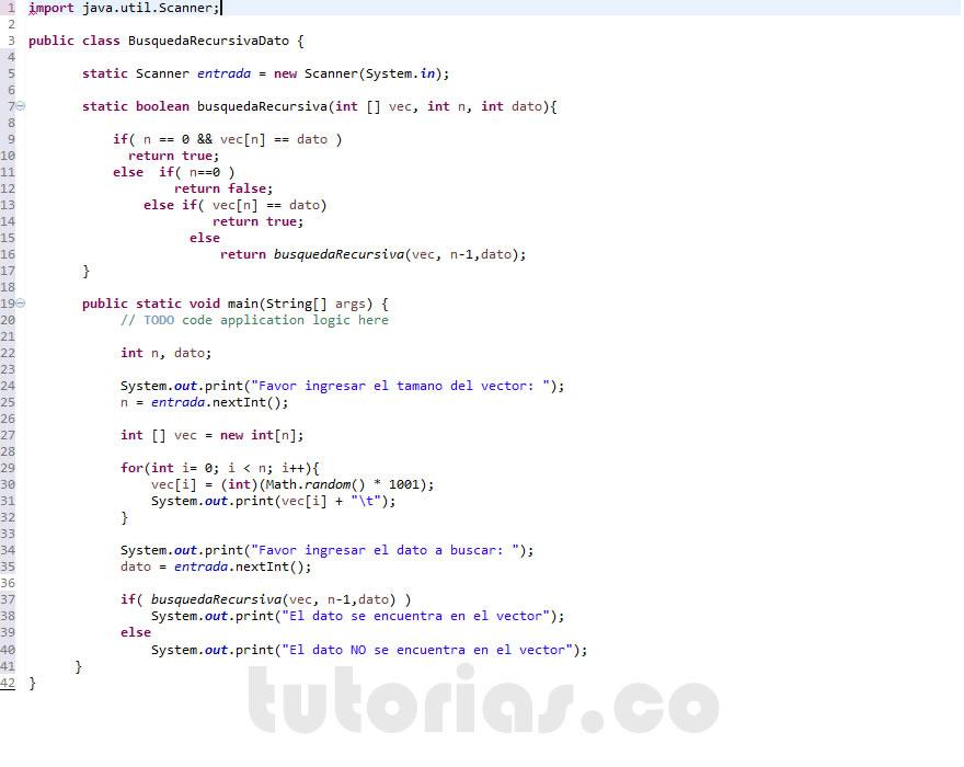 Recursividad Java Busqueda Recursiva De Un Dato Tutorias