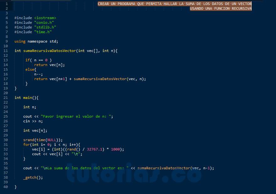 Recursividad Visual C Suma Recursiva Datos Vector
