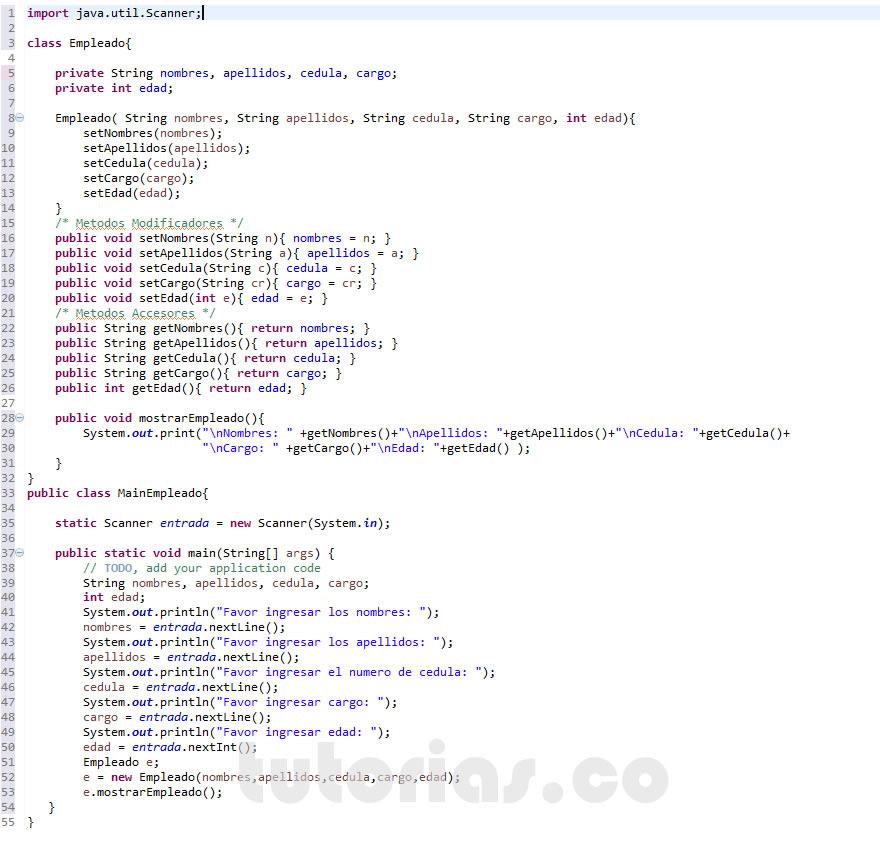 Poo java clase empleado for Como programar en java