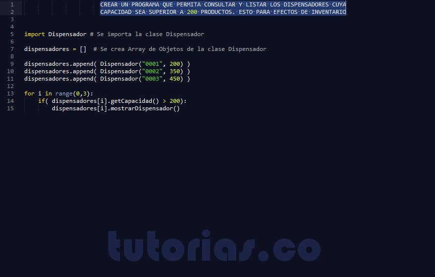 Poo python consulta clase dispensador for Python consul