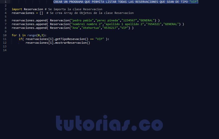 Poo python consulta clase reservacion for Python consul