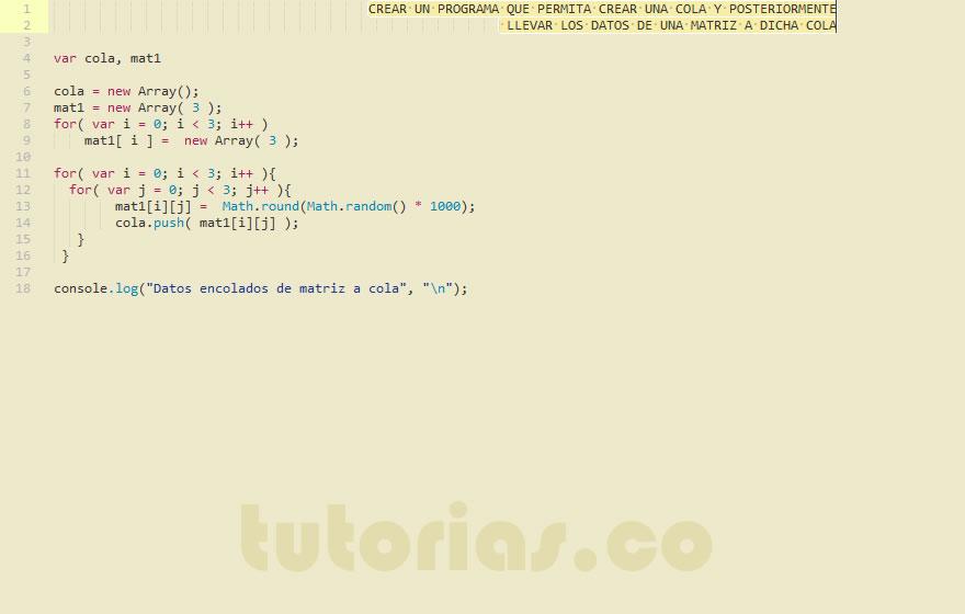 Colas Javascript Datos De Matriz A Cola Tutorias Co