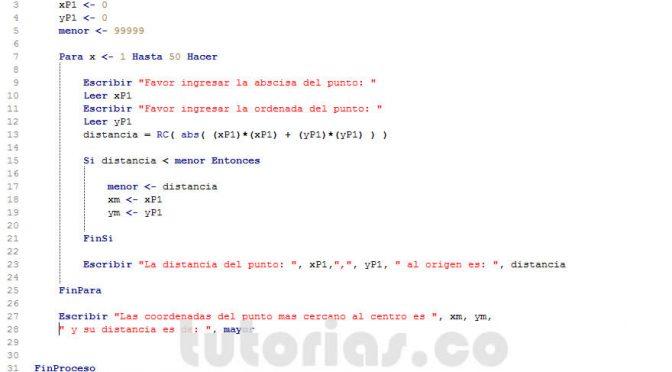 programacion en pseint: menor distancia al origen