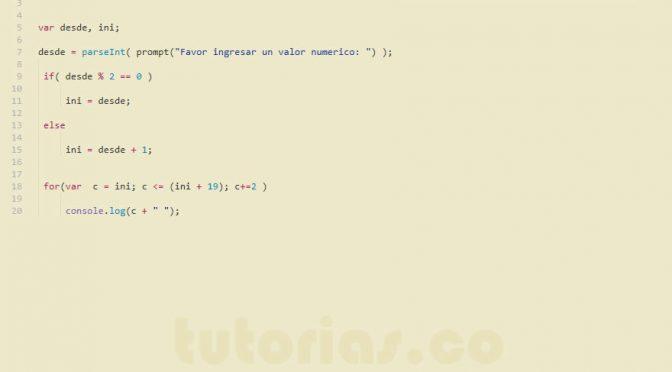 ciclo for + javascript (siguientes numeros pares)Tutorias ...
